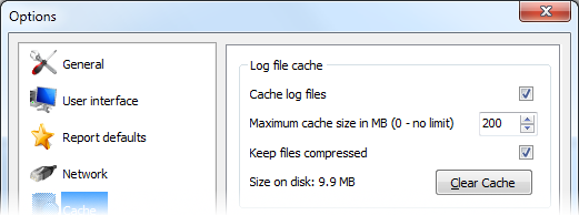 Log files cache options