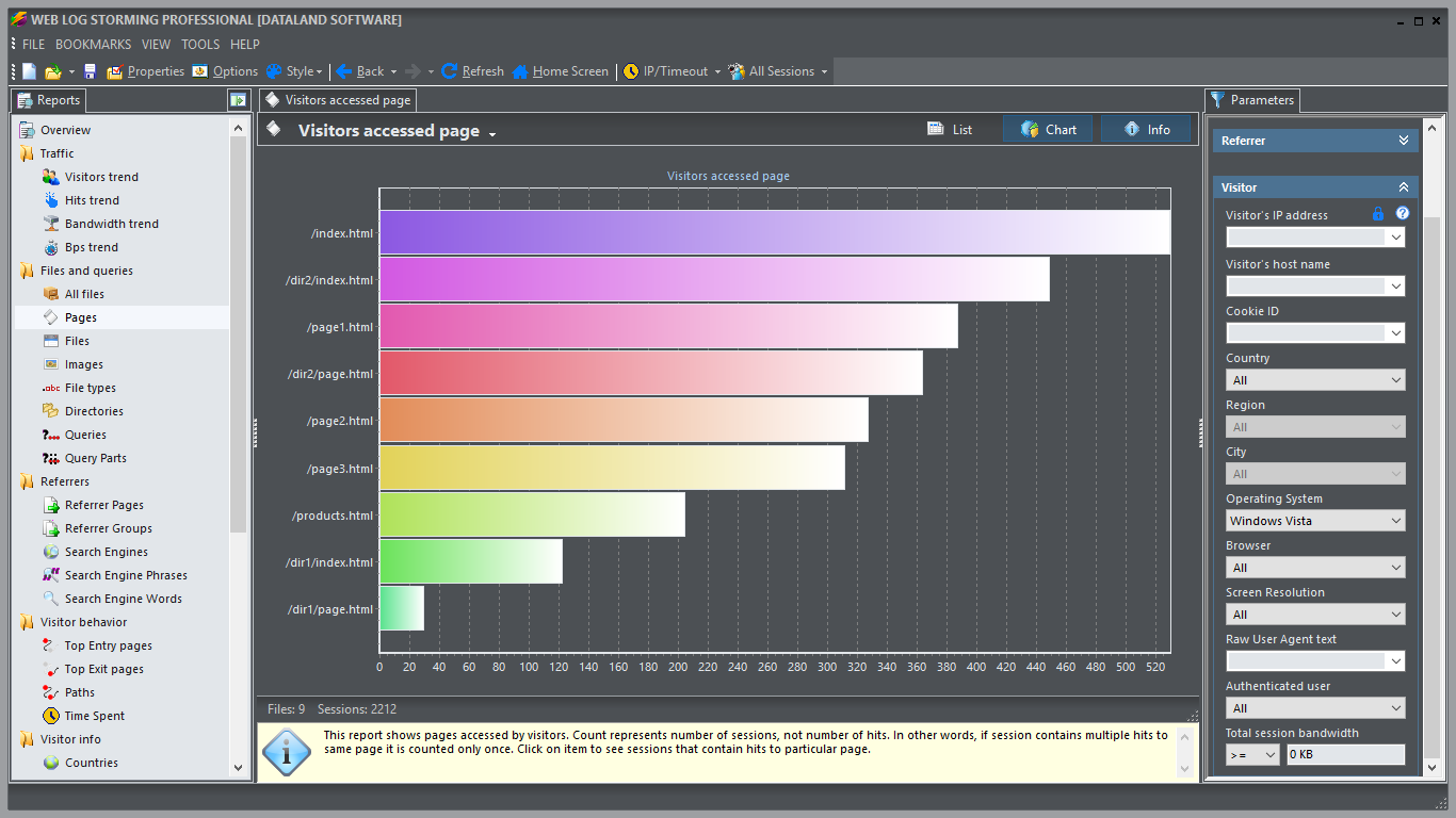 Features of Web Log Storming analyzer - web analytics