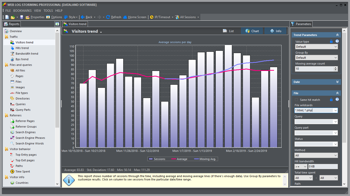 Completely interactive web log analyzer. Browse through statistics. wonderful Screen Shot